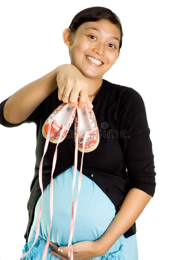Woman and pregnancy excitement stock images