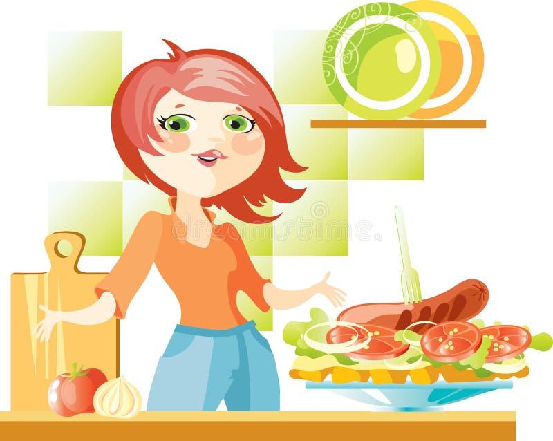 Woman prepare sandwich royalty free illustration
