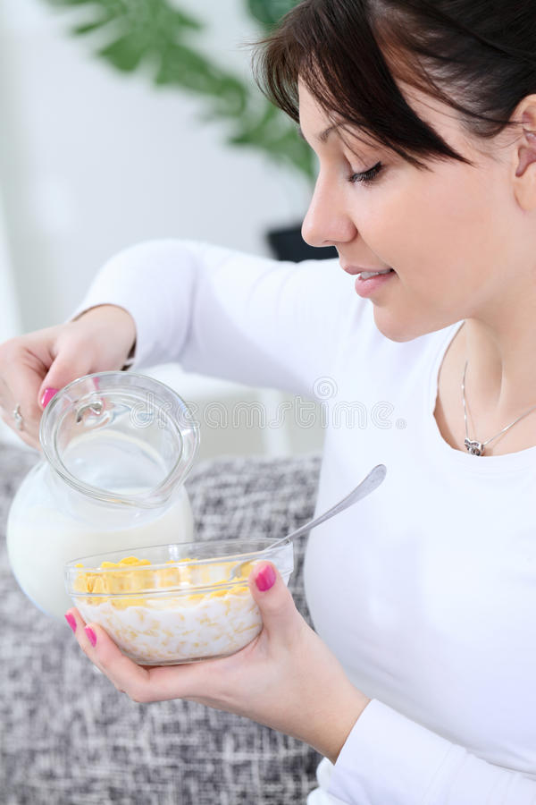 Download Woman preparing breakfast stock photo. Image of diet - 26730214