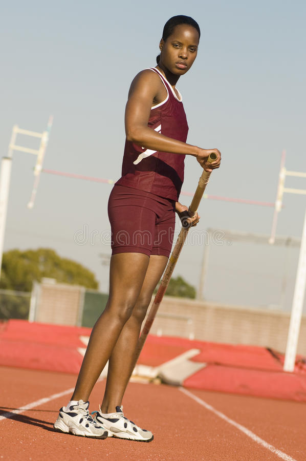 Woman Preparing For Pole Vault royalty free stock photo
