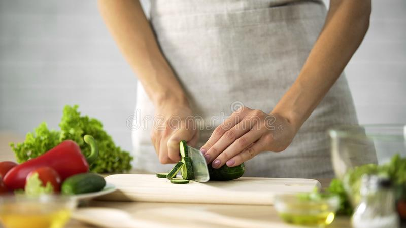 Woman preparing salad at the kitchen, female hands cutting cucumber, dieting stock photography
