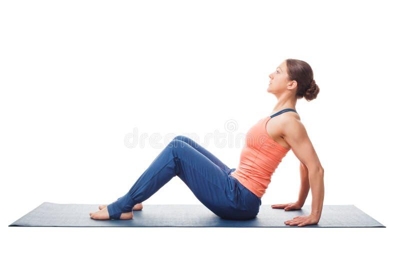 Woman preparing for yoga asana Upward Plank Pose Purvottanasana royalty free stock images