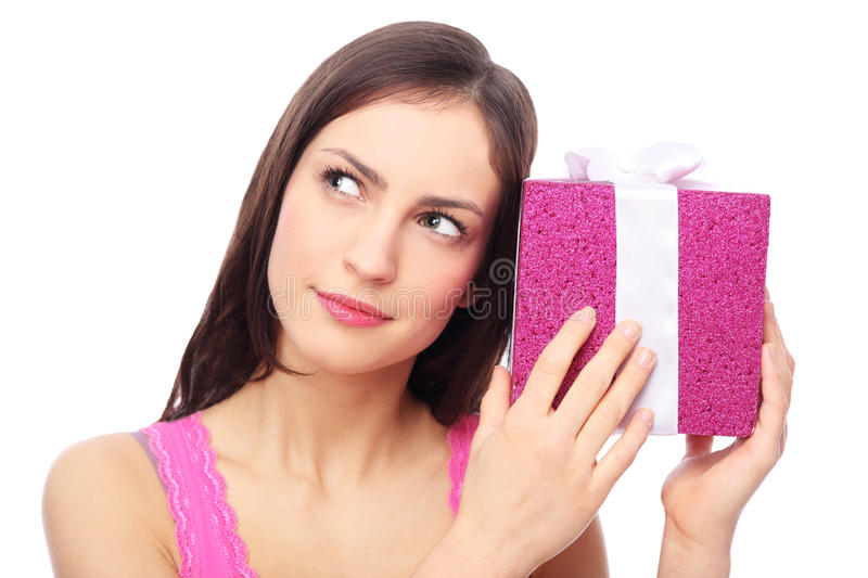 Download Woman With Present Looking Up Stock Images - Image: 28605444