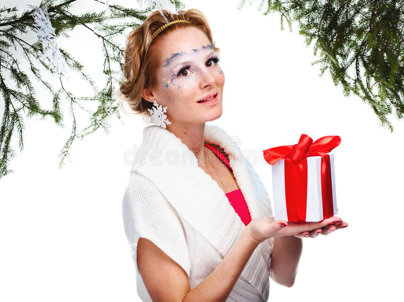 Woman with present wrapped in white paper stock photos