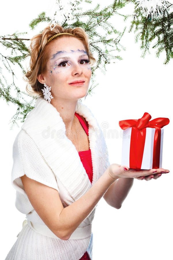Woman with present wrapped in white paper royalty free stock photo
