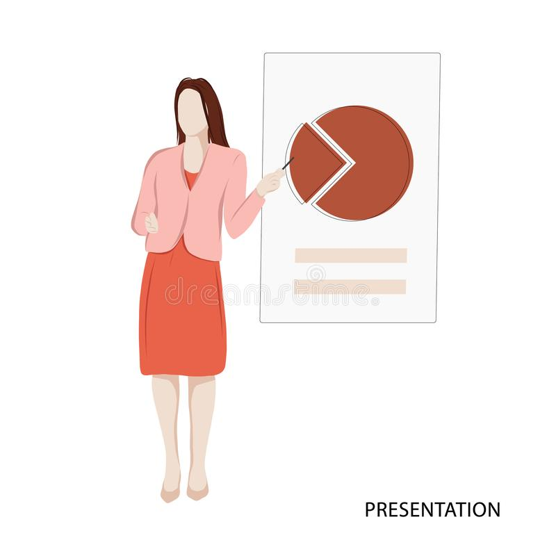 Woman presentation business illustration. Isometric vector office print. Analysing data analysing application template. Display. Woman presentation business royalty free illustration