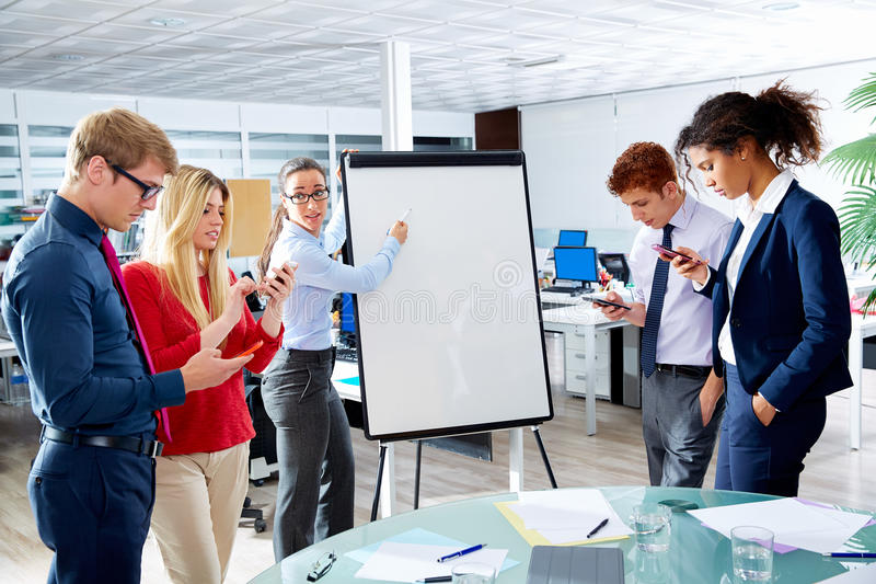 Woman presentation distracted people with phone. Executive women presentation with distracted people playing with smartphones royalty free stock photo