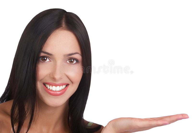 Woman presenter. Attractive smiling woman presenting. Isolated over white background