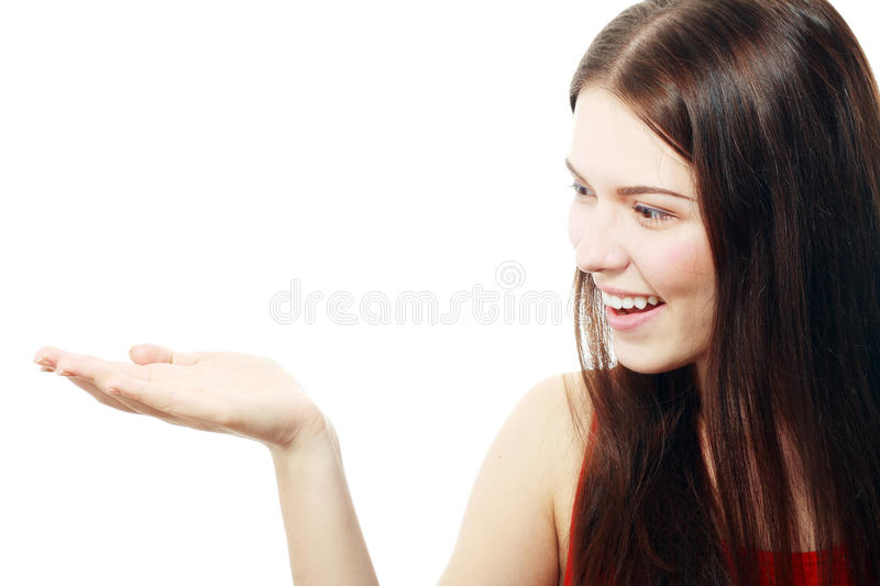 Woman presenting stock image