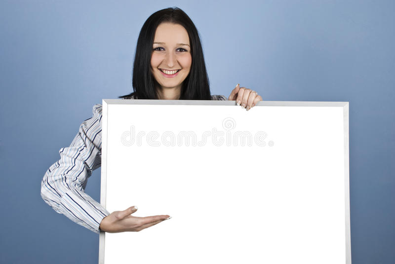Download Woman Presenting On Blank Banner Stock Photo - Image: 12532528