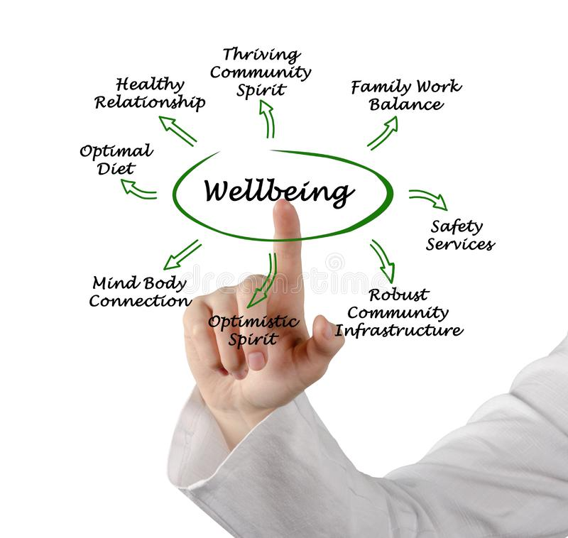 Diagram of Wellbeing. Woman presenting contributors to Wellbeing royalty free stock photos