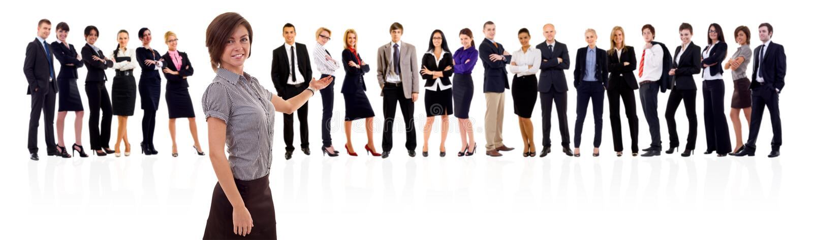 Woman presenting her business team stock photography