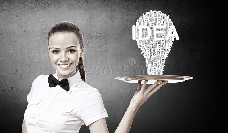 Woman presenting idea royalty free stock photography