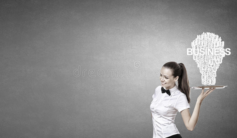 Woman presenting idea royalty free stock images