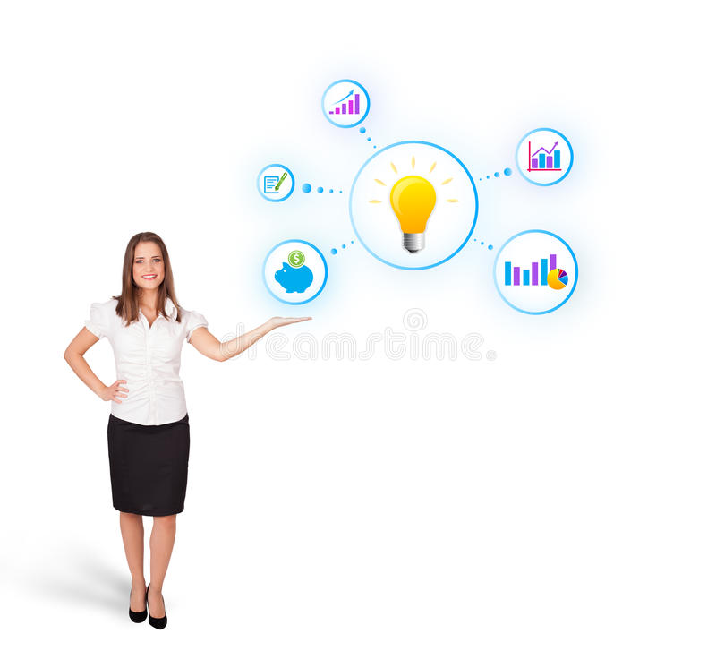 Download Woman Presenting Light Bulb With Colorful Graphs Stock Illustration - Image: 27884445