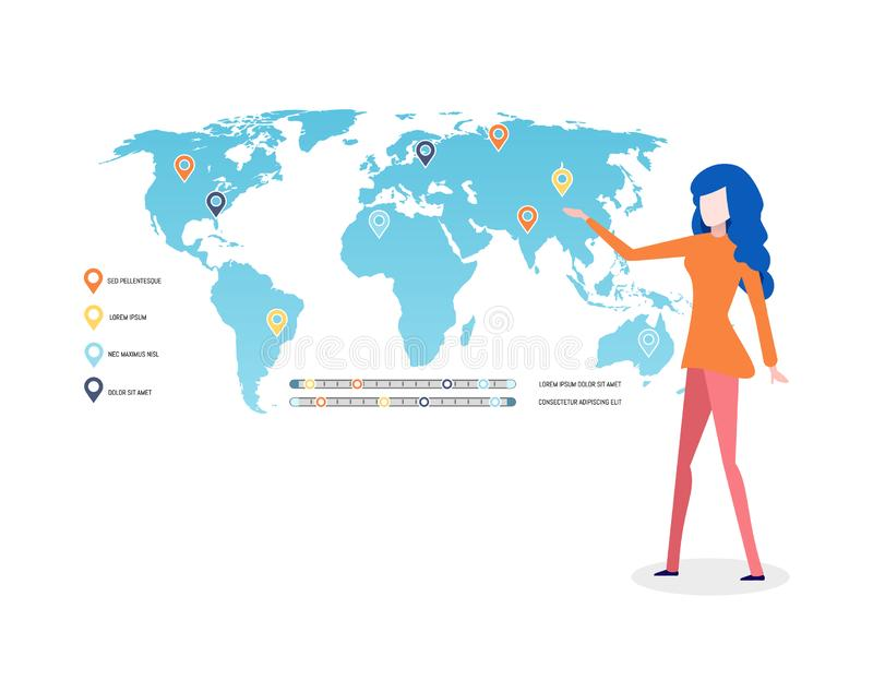 World Map Infographics and Legend, Presenter Lady. Woman presenting map with legend explanation vector. World with labels, graphics and location pointers royalty free illustration