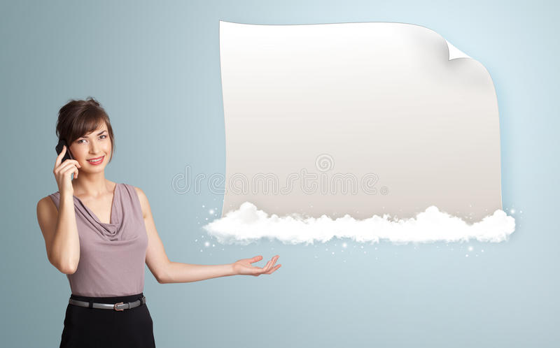 Download Woman Presenting Modern Copy Space Stock Image - Image of palm, demonstration: 27884451