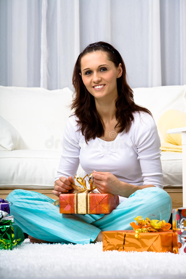 Download Woman with presents stock photo. Image of domestic, birthday - 11363720