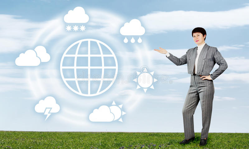 Woman Presents Global Weather Forecast royalty free stock image