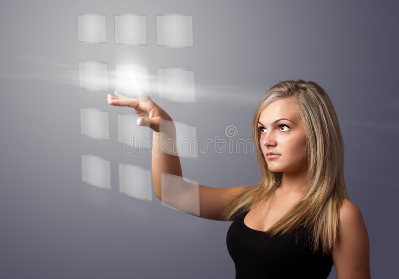 Download Woman Pressing Digital Buttons Royalty Free Stock Photos - Image: 28655898