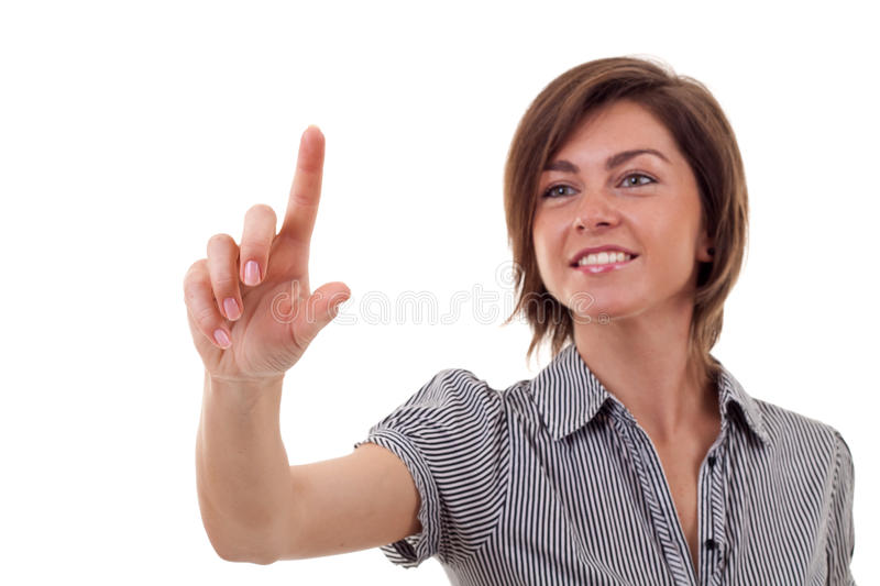 Download Woman Pressing Imaginary Button Stock Photo - Image: 16433132