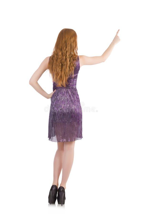 Woman pressing virtual button isolated. On white stock photos