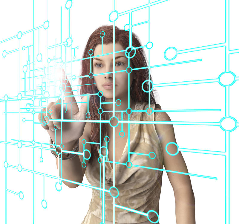 woman pressing virtual computer screen with finger stock illustration