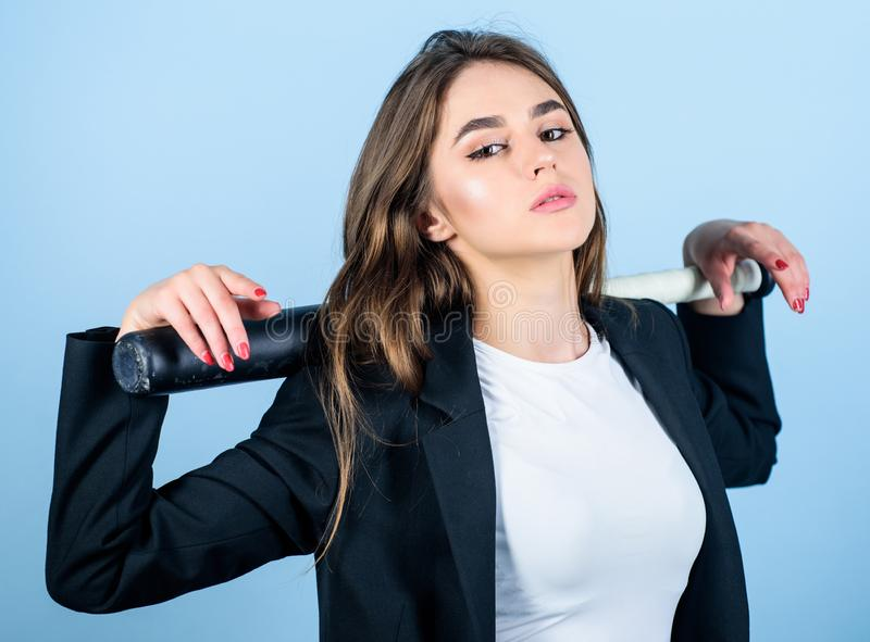 Woman pretty girl bear formal jacket and hold baseball bat. Pretty and dangerous. Life game. Business strategy. Aggressive business. Business lady boss stock photography