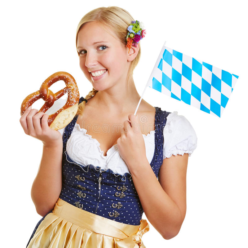 Download Woman With Pretzel And Bavarian Flag Stock Photo - Image: 33883900