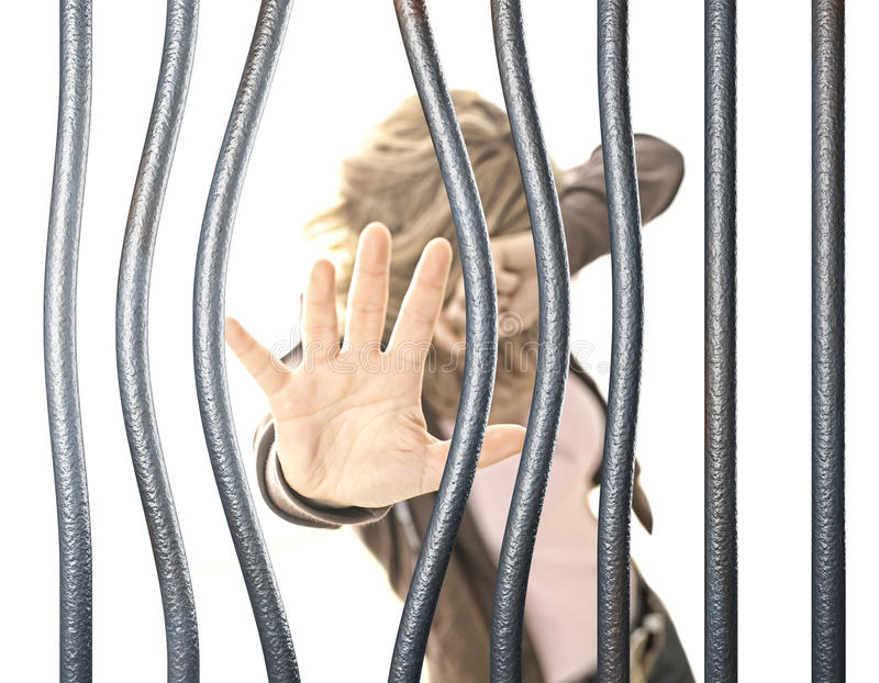 Woman in prison royalty free stock images