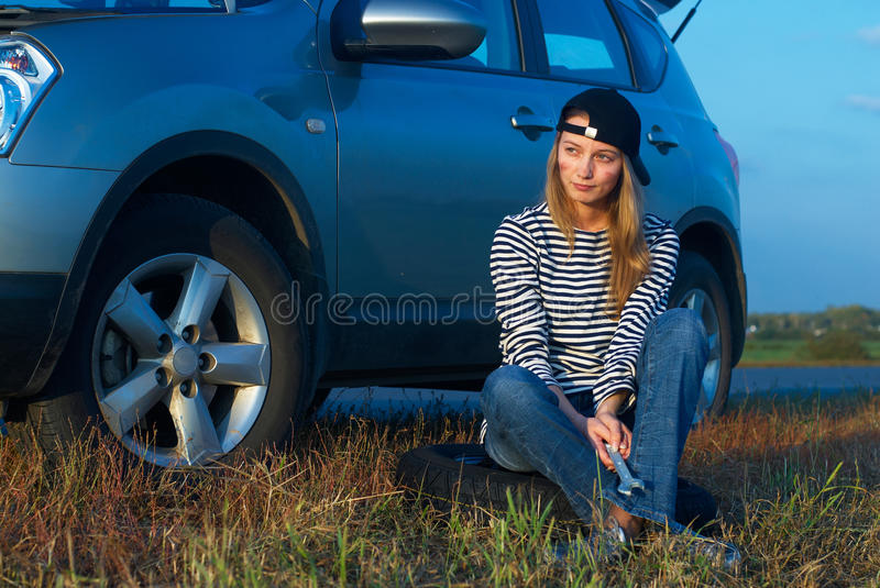 Download Woman and problem car stock photo. Image of dirty, service - 12861838