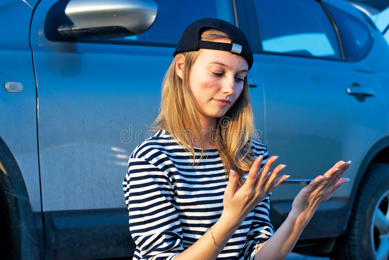 Woman And Problem Car Stock Photography