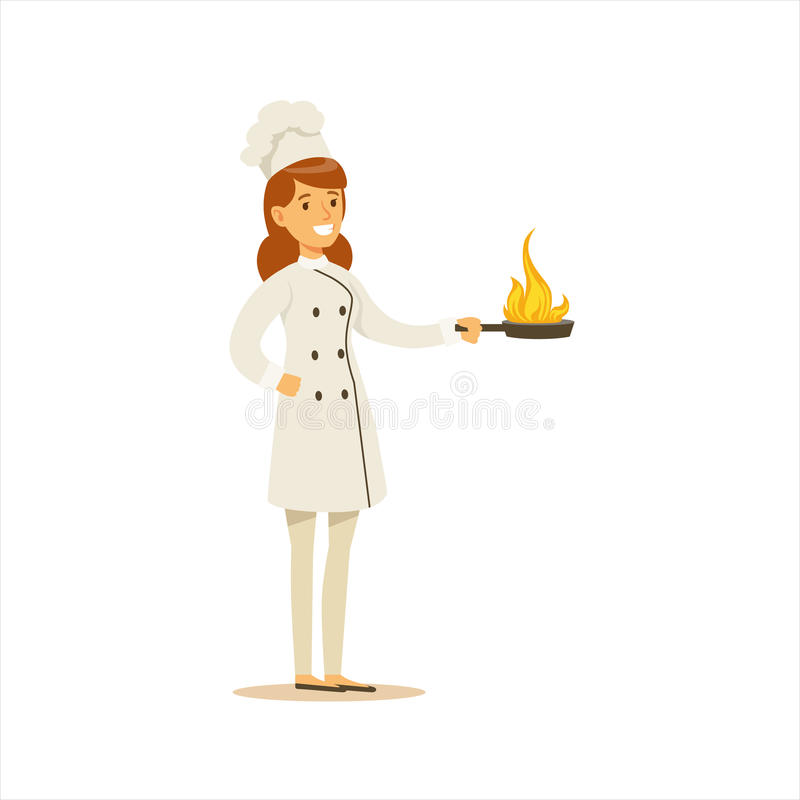 Woman Professional Cooking Chef Working In Restaurant Wearing Classic Traditional Uniform With Burning Frying Pan. Cartoon Character Illustration royalty free illustration