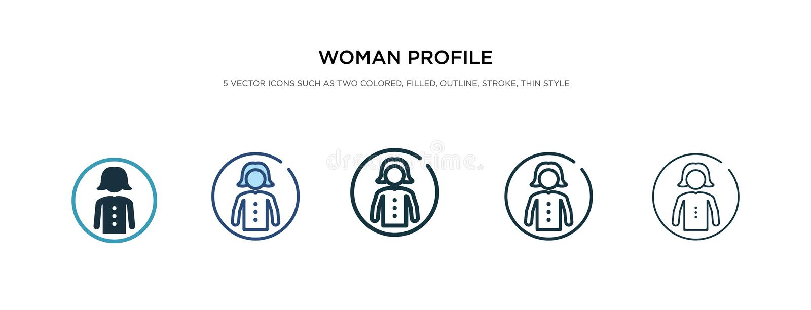Woman profile icon in different style vector illustration. two colored and black woman profile vector icons designed in filled,. Outline, line and stroke style vector illustration