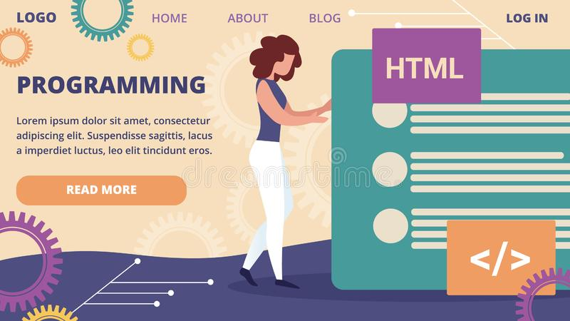 Woman Programmer Make Site Web Interface Project. Programming Horizontal Banner. Young Woman Programmer Make Site or Web Interface Project. Website Designer vector illustration