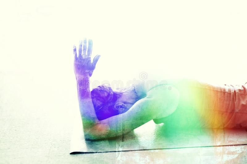 Chakra Rainbow Yoga Woman stock images