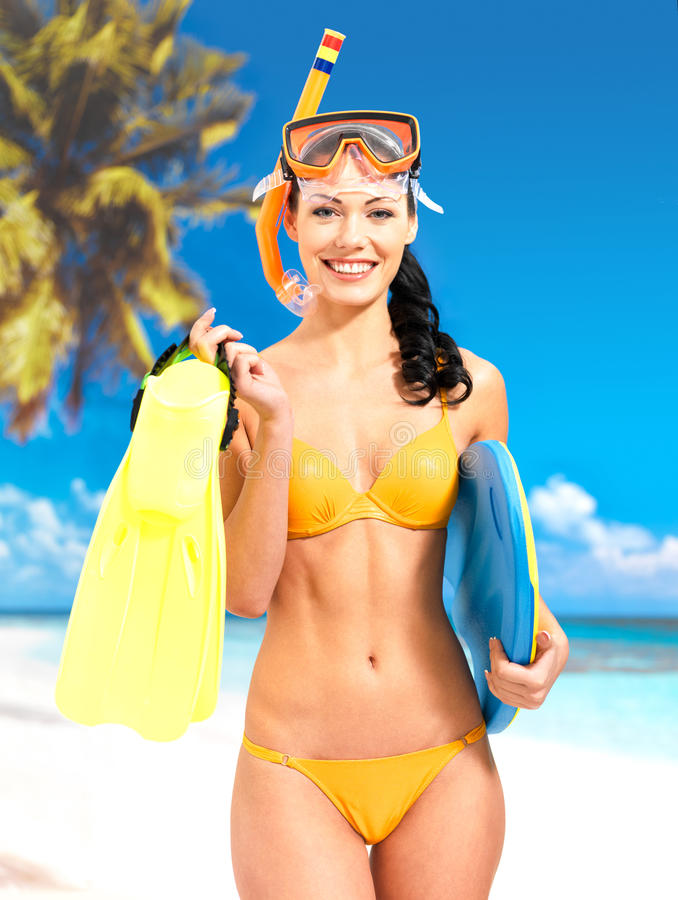 Woman With Protective Swim Mask And Flippers Stock Photos