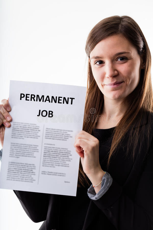 Woman proudly holding her job contract royalty free stock photos