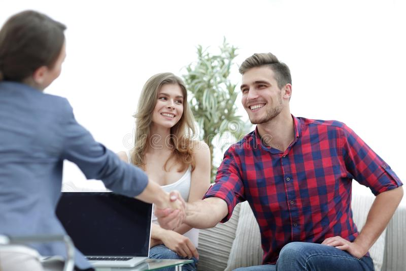 Woman psychologist welcomes the client before beginning the session. Photo with copy space stock images