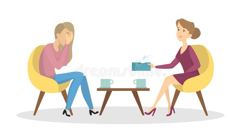 Woman at psychologist. royalty free illustration