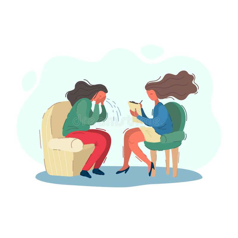 Woman psychologist writes patients story, psychiatrist accepts a crying patient. Psychotherapy concept vector royalty free illustration