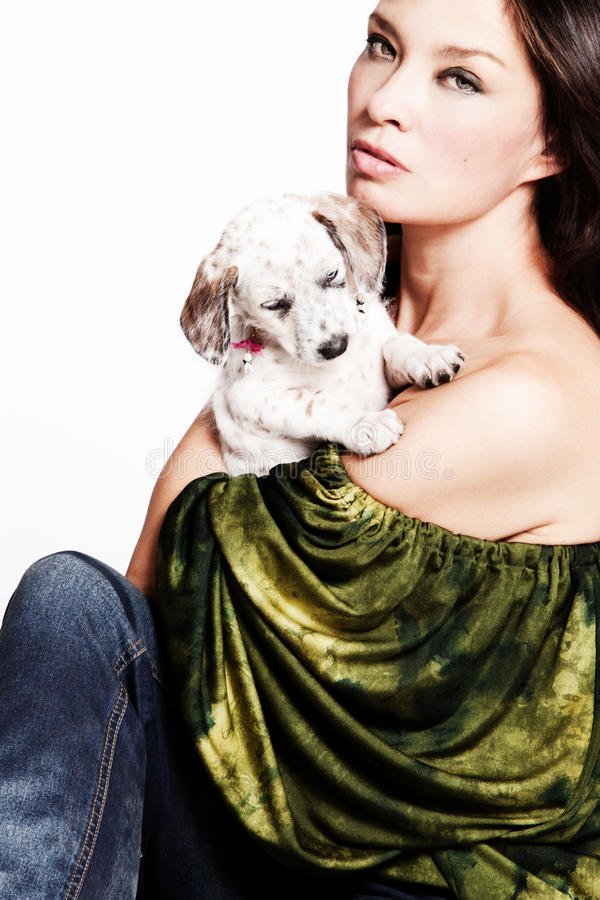 Download Woman With Puppy Stock Image - Image: 21649661