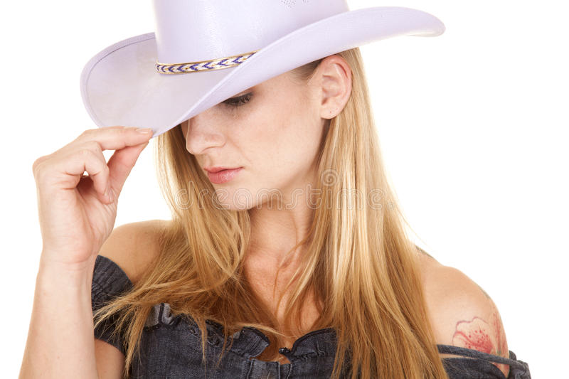 Woman Purple Cowgirl Hat Close Look Down Stock Image ...