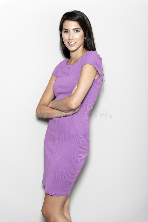 Download Woman in purple dress stock image. Image of female, smart - 26906975