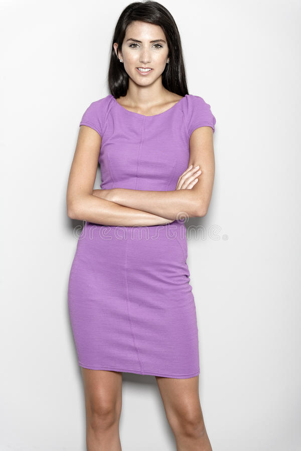 Download Woman in purple dress stock photo. Image of smart, powerful - 26906982