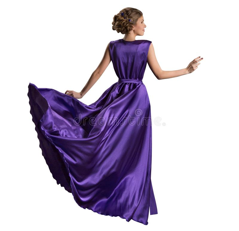 Woman Purple Dress, Fashion Model in Long Fluttering Gown, Back Rear view on White stock photos