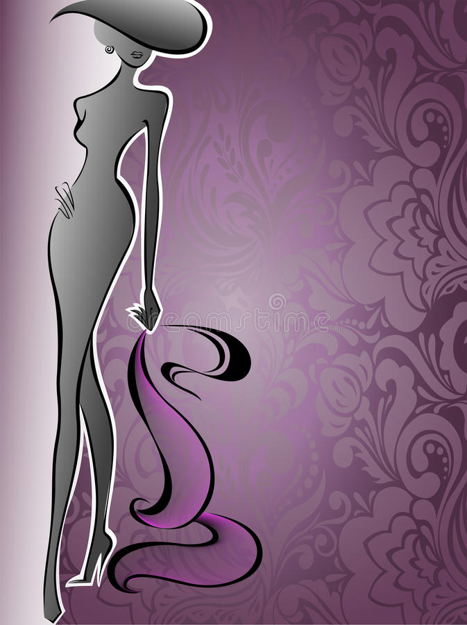 Download Woman On A Purple Flower Background Royalty Free Stock Photo - Image: 26620925