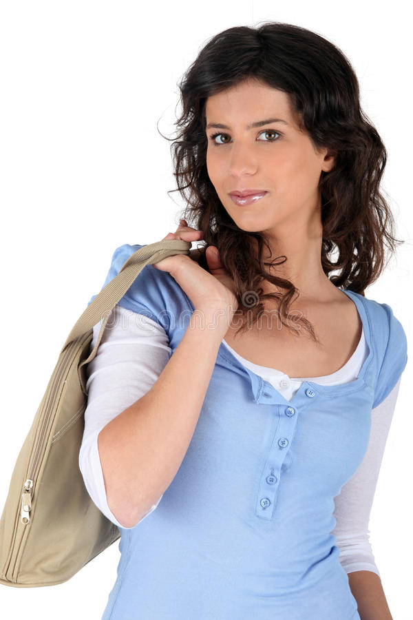 Woman With A Purse Royalty Free Stock Photos