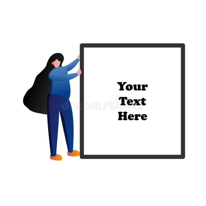 Woman pushing blank space frame for text. People lifestyle and beauty concept. Flat character design illustration vector.  vector illustration