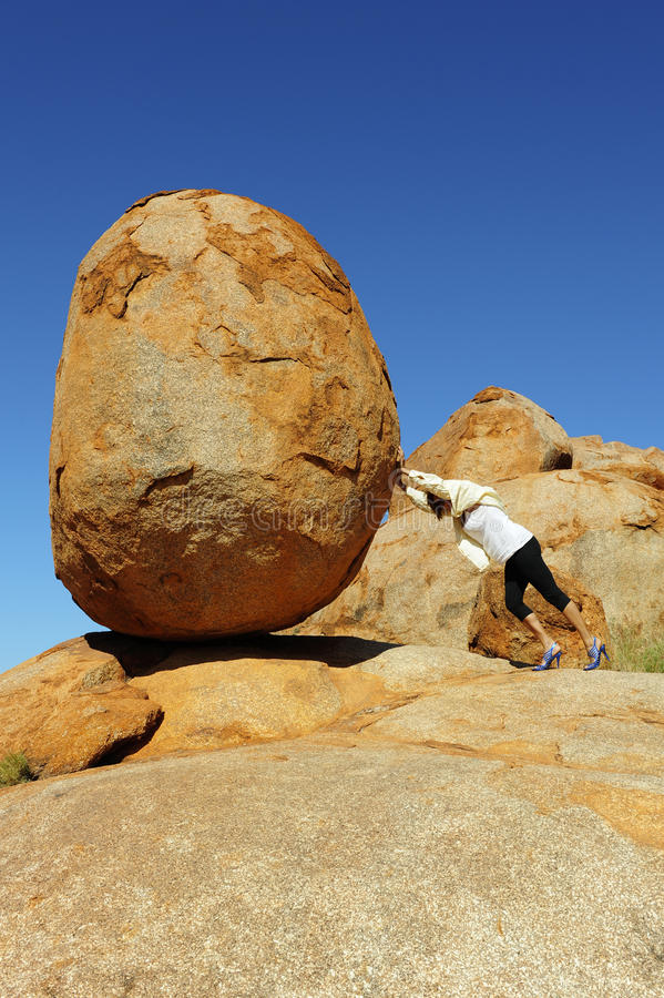 Woman Pushing Boulder Stock Photo Image Of Copy Outback